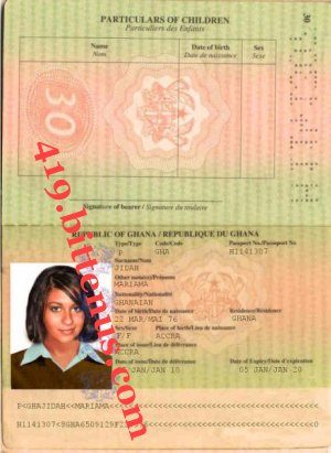 Mariama's passport
