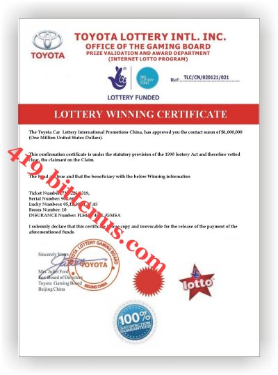 Winner's Confirmation Certificate 2010