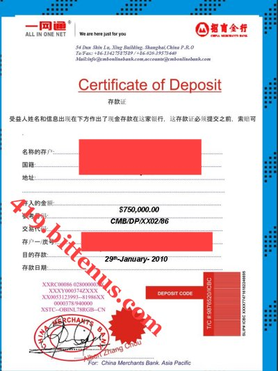 Certificates of Deposit - China