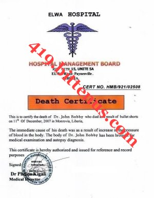 HERE IS THE DEATH CERTIFICATE OF MY LATE FATHER DR