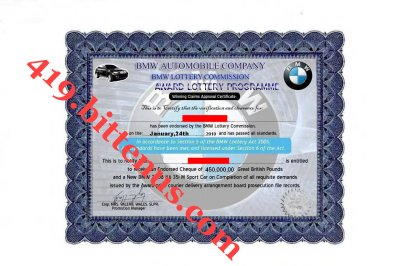 BMW 2010 Award Certificate For