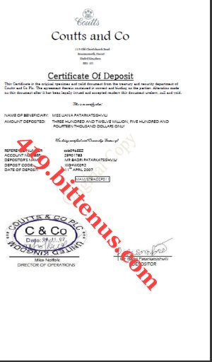 Coutts and Co Deposit Cert9090-3