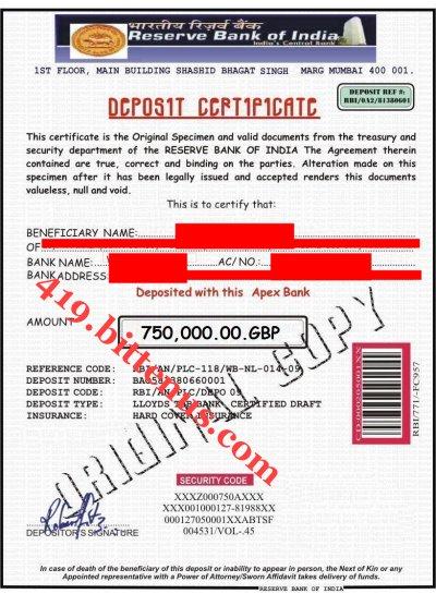 Certificates of Deposit - India