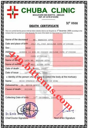Death certificate of my father