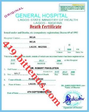 Death certificates nigeria deathcert yadclub Gallery