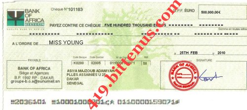 The copy of the cheque