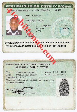 Cote - License D'ivoire Card Id Drivers