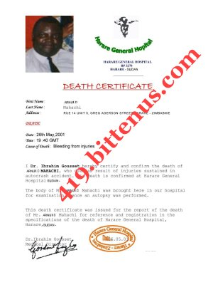 Death Certficate of my late father