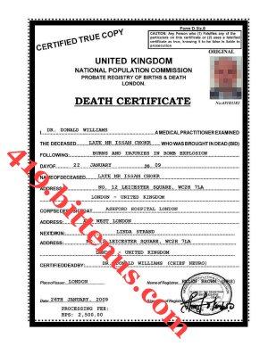 Death certificates uk issam death certificate yadclub Choice Image