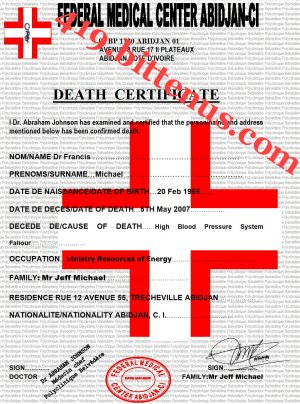 MY LATE HUSBAND DEATH CERTIFICATE