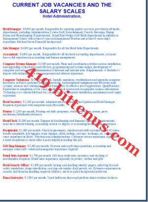 current job vacancies and the salary scales