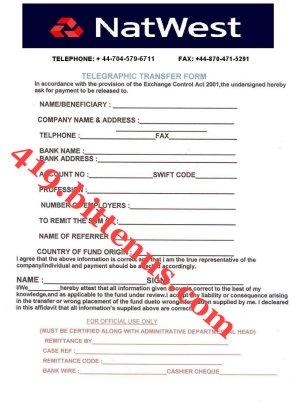 London England Telegraphic Transfer Form