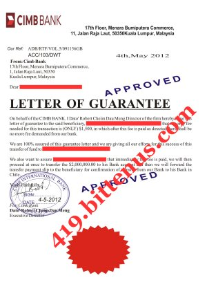 covering letter for bank guarantee - dato robert cheim dau meng i have never hard any complain