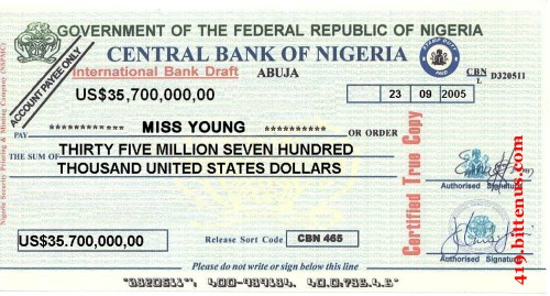 Central Bank of Nigeria, US$35,700,000
