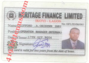 ID card of Clifford A. Obiekwe, Heritage Finance Limited