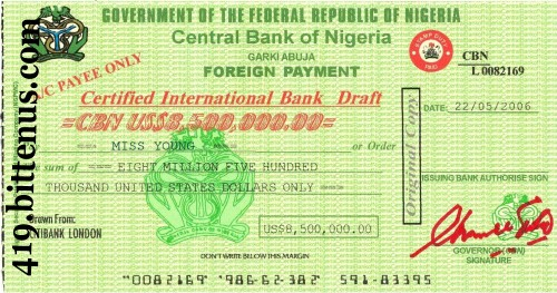 Central Bank of Nigeria, US$8,500,000