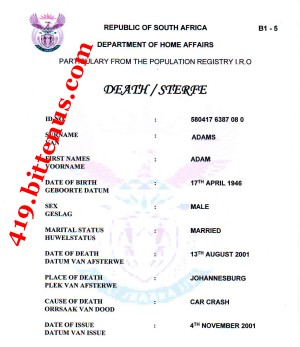 Death certificates south africa death sterfe yelopaper Image collections