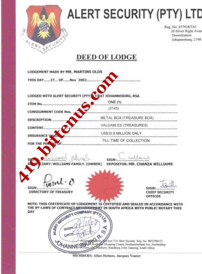 Deed of Lodgement
