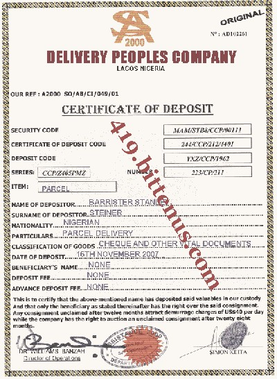 Delivery peoples company parcel deposit certificate