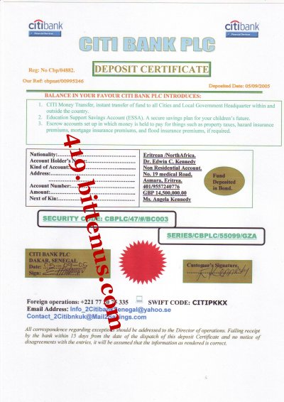 The my daddys deposit certificate