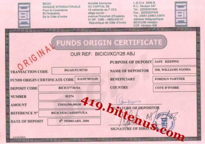 Funds origin certificate