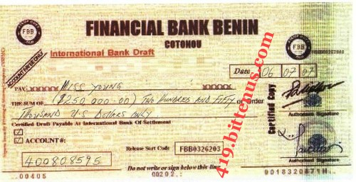 Financial Bank Benin, $250,000