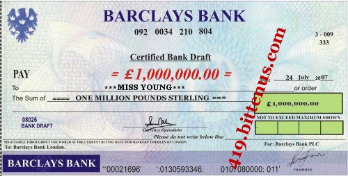 Barclays Bank, £1,000,000