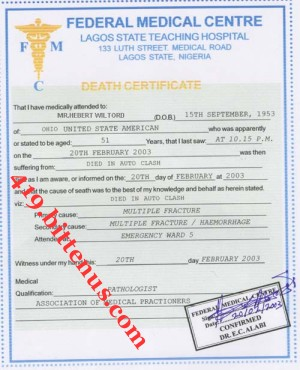 Death certificates nigeria federal medical centre hebert wiltord from the peter odemba story national population commision ahmed hassan ghoubashi death certificate yadclub Gallery