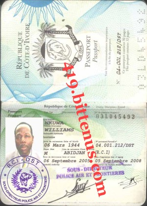 Dr Williams Nkuwa passport