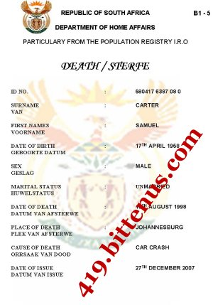 Death certificates south africa death certificate of samuel carter yelopaper Choice Image