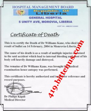 death certificate_dr Williams Kane