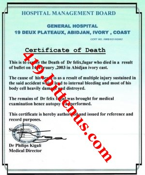 Copy of Death Certificate from Hospital