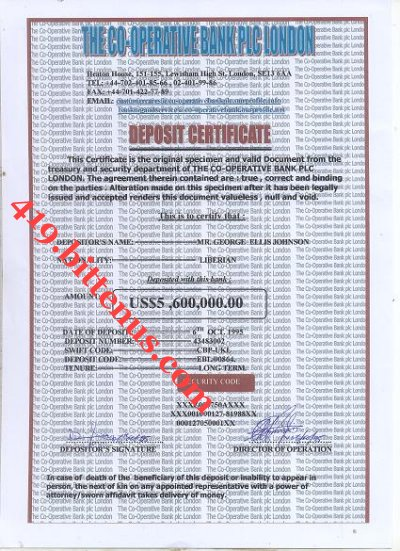 The Deposit Certificate