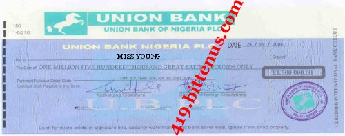 VIEW THE ORIGINAL COPY OF THE CERTIFIED INTERNATIONAL BULK CHEQUE