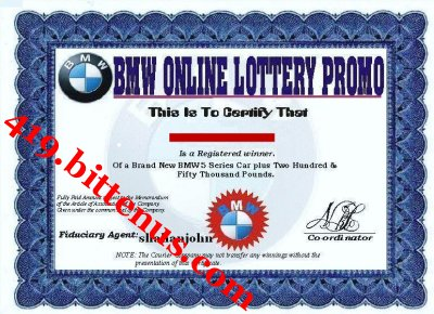 the bmw company promotion prize award warning Warning: do not send any money or personal details to anyone who says that  you have  international promotions/ prize award department   awareness promotion department of the bmw automobile company, wishes  to.