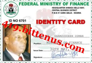 Id  card  ministry  finance
