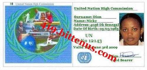 My refugee i d card 1