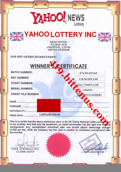 Yahoo Lottery Winning Certificates 419 fraud – Winner Certificates