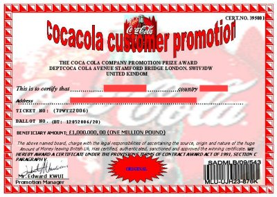 Coca Cola Lottery Winning Certificates 419 fraud – Certificate Winner