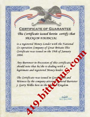 Certificate--of--guarantee