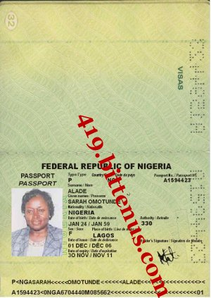 MRS. SARAH OMOTUNDE ALADE PASSPORT AND ID CARD