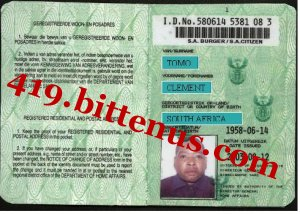 License Card Drivers South - Africa Id
