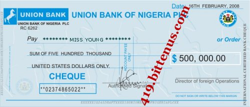 UNION BANK DRAFT