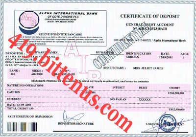 MR EDWARD JAMES CERTIFICATE OF DEPOSIT