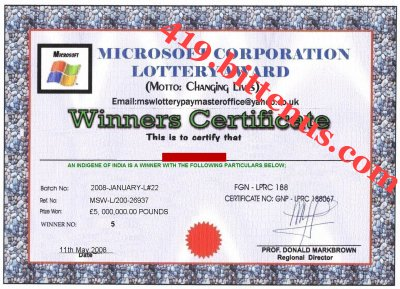 A proof of your Winners certificate copy