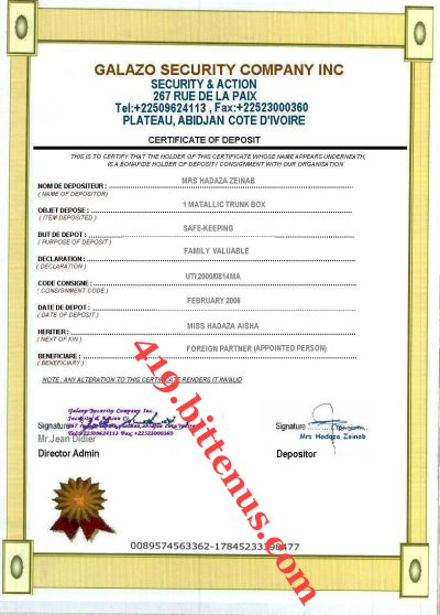 Certificate of deposit hadaza family
