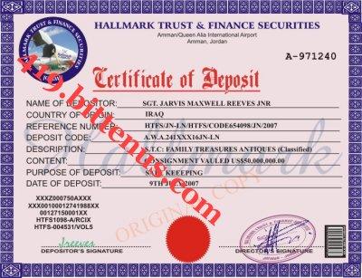 Certificates of Deposit - Jordan