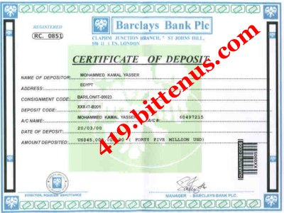 Certificate of Deposite of the Fund