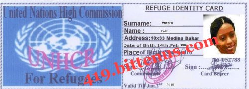 Faith refugee identity card