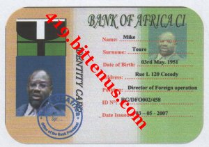 Mike Toure bank staff  Id Card